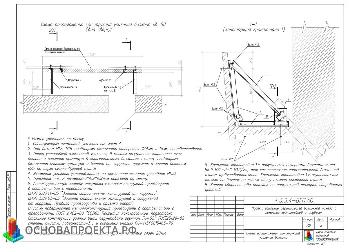 Проект усиление ограждающей балконной панели с помощью кронш.